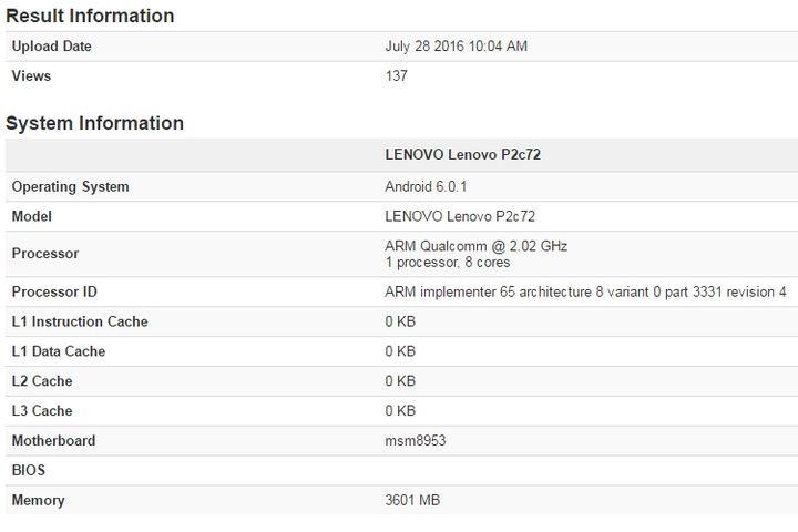 Технические характеристики Lenovo Vibe P2