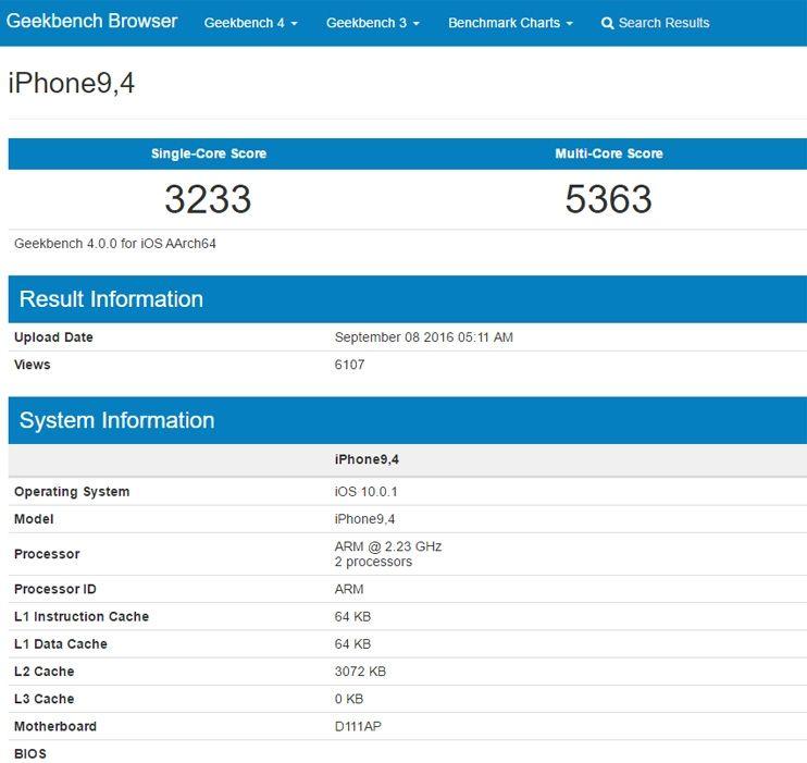 Результаты Apple iPhone 7 Plus на iOS 10 в GeekBench