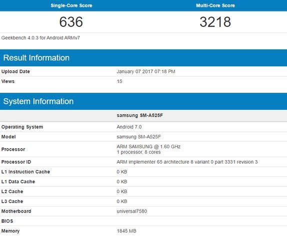 Предполагаемый Samsung Galaxy A5 (2016) с прошивкой на базе Android 7.0 Nougat в базе GeekBench