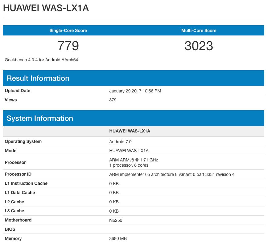Технические характеристики Huawei P10 Lite по данным GeekBench