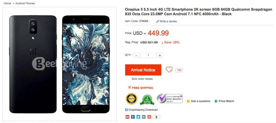 OnePlus 5 на сайте ритейлера Geekbuying