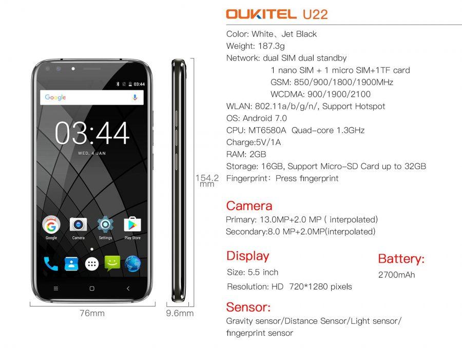 Спецификация Oukitel U22 одним слайдом