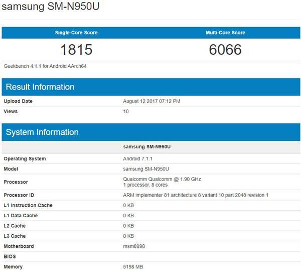 Модификация SM-N950U в GeekBench