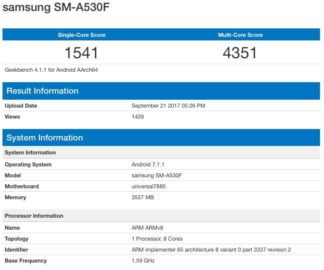 Характеристики Samsung Galaxy A5 (2017) в GeekBench